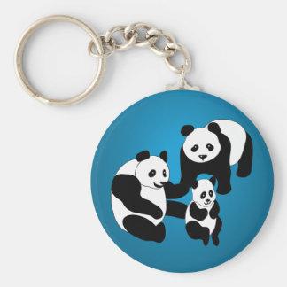 Familia de la panda de tres llavero redondo tipo pin