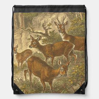 Familia de las huevas - ciervos en un bosque mochilas