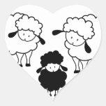 Familia de las ovejas negras colcomanias corazon