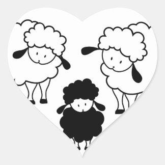 Familia de las ovejas negras calcomanías de corazones