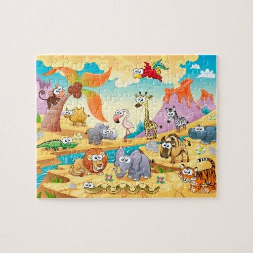 Familia de los animales de la sabana rompecabezas con fotos