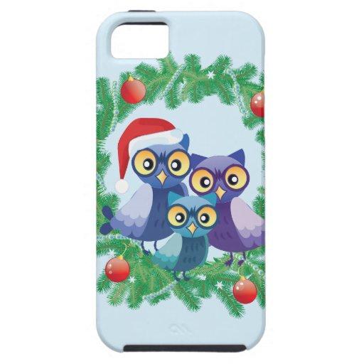 Familia de los búhos del navidad iPhone 5 Case-Mate protector