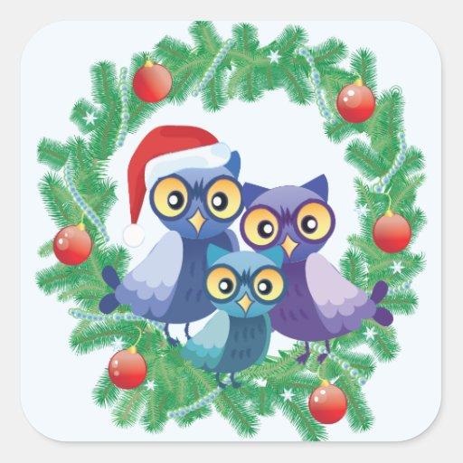 Familia de los búhos del navidad calcomanía cuadradas personalizadas