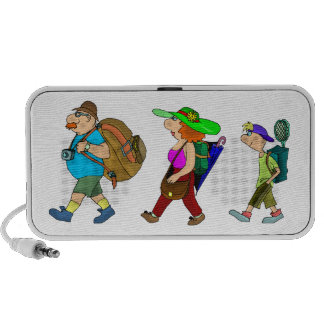Familia de los campistas contentos de Doodle de lo iPod Altavoces