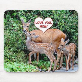 Familia de los ciervos del día de madres tapete de ratón