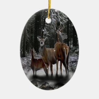 Familia de los ciervos del solsticio adorno navideño ovalado de cerámica