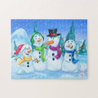 Familia de los muñecos de nieve del rompecabezas