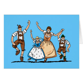 Familia de Oktoberfest del Dirndl de los Lederhose Tarjeta De Felicitación