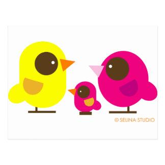 familia de pájaro tarjeta postal