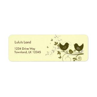 Familia de pájaros etiqueta de remite