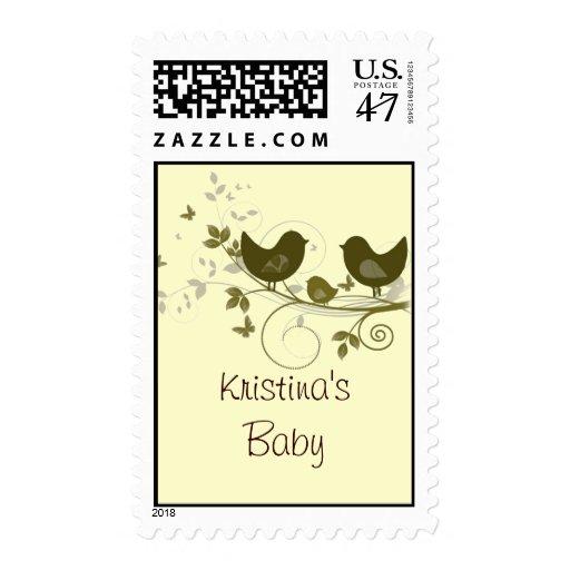 Familia de pájaros sello postal