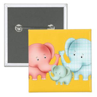 Familia de papá y de bebé de la mamá de los elefan pin cuadrada 5 cm