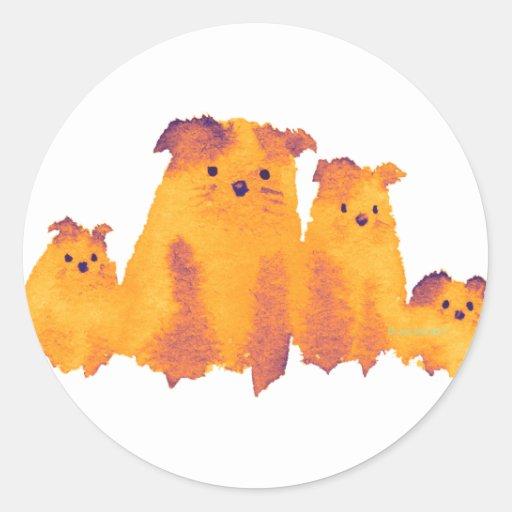 Familia de perros preciosa pegatinas redondas