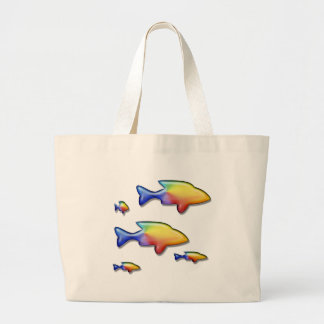 Familia de pescados colorida bolsa tela grande