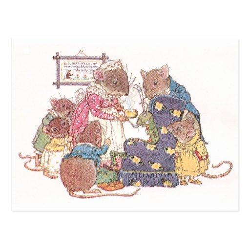 Familia de seis ratones postales