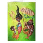 Familia de sirenas tarjeta de felicitación