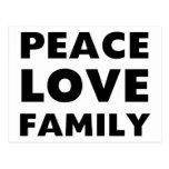 Familia del amor de la paz tarjeta postal