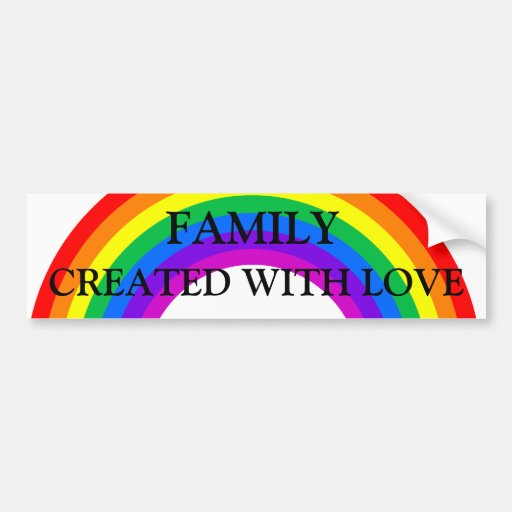 Familia del arco iris hecha con la pegatina para pegatina para auto