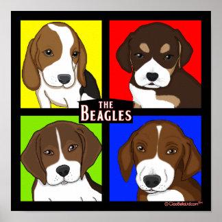 Familia del beagle del arte pop póster