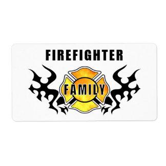 Familia del bombero etiquetas de envío