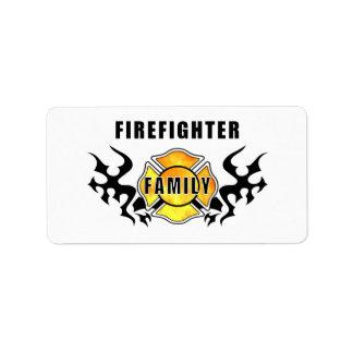 Familia del bombero etiqueta de dirección