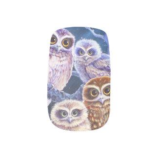 Familia del búho de Boobook Stickers Para Manicura