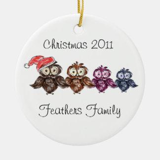 Familia del búho del navidad ornamento de navidad