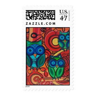 Familia del búho sello postal
