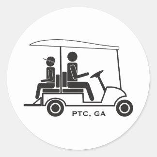 Familia del carro de golf del PTC GA Pegatina Redonda