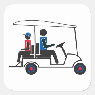 Familia del carro de golf del PTC GA (rojo, blanco Pegatina Cuadrada