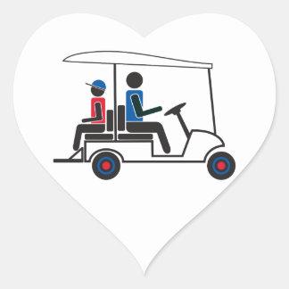 Familia del carro de golf del PTC GA (rojo, blanco Pegatina En Forma De Corazón