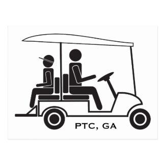 Familia del carro de golf del PTC GA Tarjetas Postales