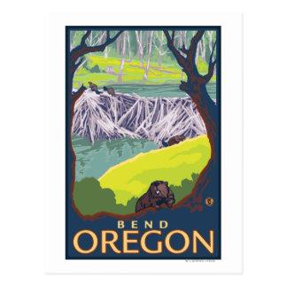 Familia del castor - curva, Oregon Postales