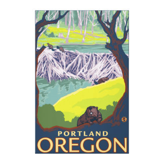 Familia del castor - Portland, Oregon Impresiones De Lienzo
