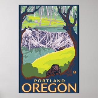 Familia del castor - Portland, Oregon Póster