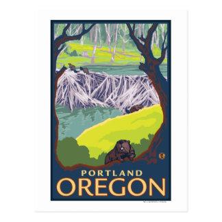 Familia del castor - Portland, Oregon Tarjetas Postales