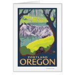 Familia del castor - Portland, Oregon Tarjetón
