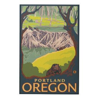 Familia del castor - Portland, Oregon Impresiones En Madera