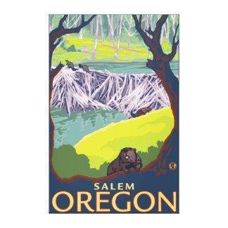 Familia del castor - Salem, Oregon Impresión De Lienzo