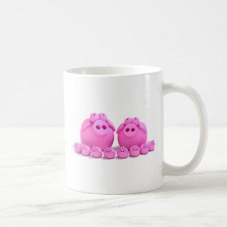 Familia del cerdo taza