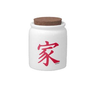 Familia del chino del rojo carmesí jarras para caramelos