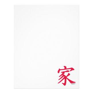 Familia del chino del rojo carmesí membrete a diseño