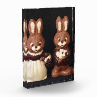 Familia del conejito de pascua del chocolate