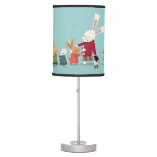 Familia del conejo de conejito - acuarela preciosa lámpara de escritorio