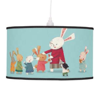 Familia del conejo de conejito - acuarela preciosa lámpara de techo