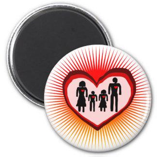 familia del corazón imán redondo 5 cm