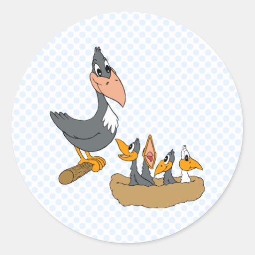 Familia del cuervo pegatina redonda
