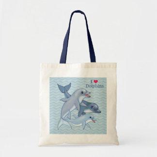 Familia del delfín bolsa tela barata