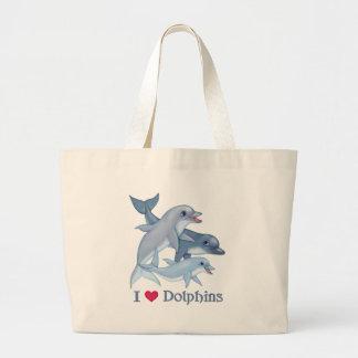 Familia del delfín bolsa tela grande