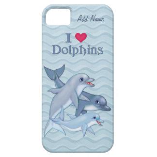 Familia del delfín de IiHeart - personalizar iPhone 5 Protectores